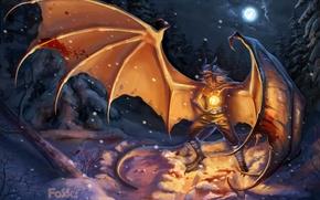 Обои крылья, снег, зима, арт, чешуя, парень, магия, дракон, луна, шар, ночь, небо, фантастика, огонь