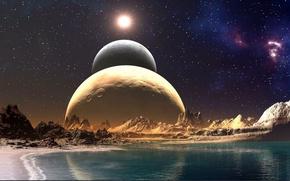 Картинка море, небо, звезды, скалы, планеты, парад планет