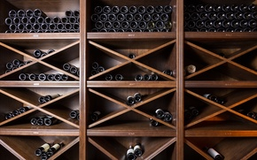 Картинка wood, wine bottles, personal cellar