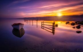 Обои закат, река, лодка