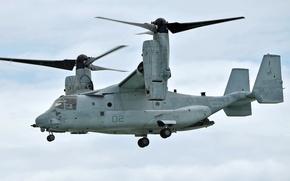 Картинка небо, полет, США, конвертоплан, Osprey, ВМС, транспортный, Bell V-22