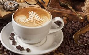 Картинка часы, кофе, зерна, чашка, книга