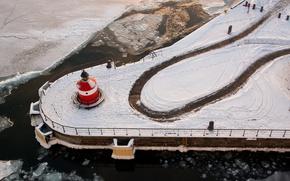 Картинка ice, winter, lighthouse, Denmark, Copenhagen, Langelinie