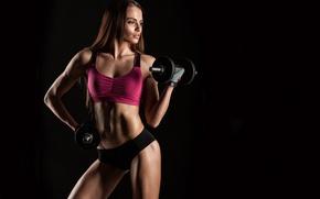 Обои female, bodybuilder, fitness, black, dumbbell, workout, sportswear