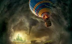 Обои постер, Джеймс Франко, смерч, гондола, воздушный шар, летит, в воздухе, James Franco, страна, замок, Oz ...
