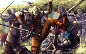 Картинка меч, доспехи, the witcher, щит, ведьмак, рыцари, латы, анджей сапковский, Геральт