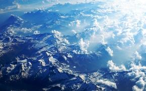 Картинка облака, снег, горы, вершины, Альпы