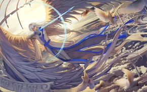Обои небо, облака, птицы, оружие, аниме, лук, арт, парень, стрелы, card captor sakura, yue, qinshou, ana_bi