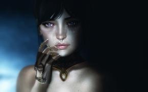 Картинка глаза, взгляд, девушка, лицо, фон, волосы, рука, слезы, губы, перчатка