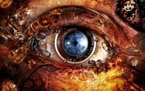 Обои механизм, глаз, линза