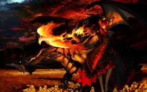 Картинка Дракон, Пламя, Демон, Феникс