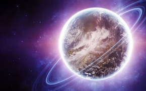 Картинка ring, planet, Sci fi, violet and lights