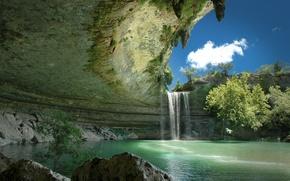 Картинка небо, вода, деревья, водопад, облако, ущелье, Hamilton Pool Preserve, подземное озеро, Гамильтон Пул, Техас