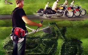 Обои трава, мотоциклы, козлы, газонокосилка