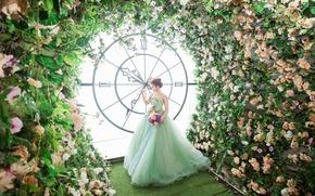 Картинка девушка, цветы, часы, платье, азиатка