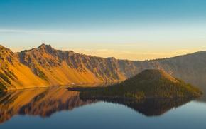 Картинка лес, горы, озеро, склоны, вулкан, США