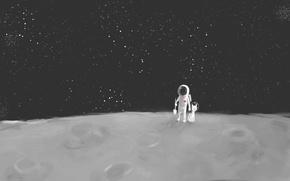 Картинка кот, космонавт, звёзды, Луна, лопата