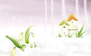 Картинка снег, весна, домик, поснежник
