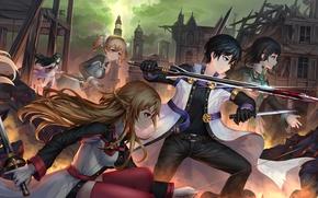 Картинка девушки, кровь, меч, аниме, арт, парень, персонажи, Мастера меча онлайн, Sword Art Online, Асуна, Кирито