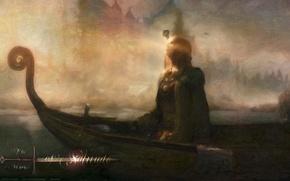 Картинка girl, Skyrim, boat, The Elder Scrolls V Skyrim, mist, pray