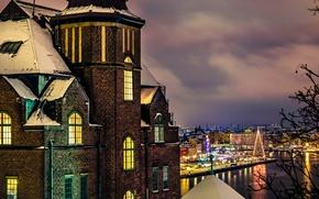 Картинка праздники, снег, здание, зима, свет, Stockholm, Стокгольм, Швеция, город, окна, вечер, дом, Sweden