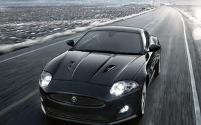 Обои дорога, авто, путь, скорость, Jaguar, XKR