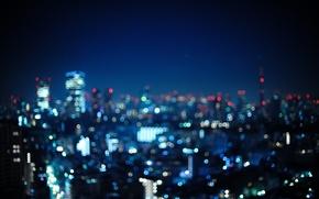 Картинка ночь, город, огни, фото, обои, япония, Tokyo, Japan, токио, wallpapers, боке