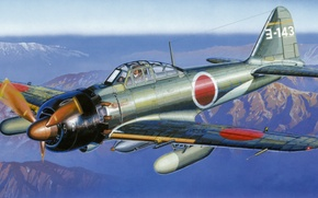 Картинка war, Interceptor, art, painting, aviation, ww2, japanese airplane, yokosuka flying group, Mitsubishi A6M7 ZERO fighter ...
