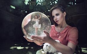 Картинка девушка, шар, балерина