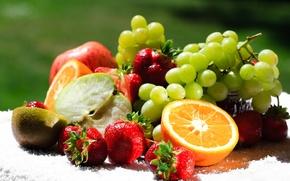 Обои ягоды, киви, фрукты, еда, апельсин, виноград, клубника