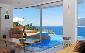 Картинка дизайн, дом, стиль, вилла, интерьер, бассейн