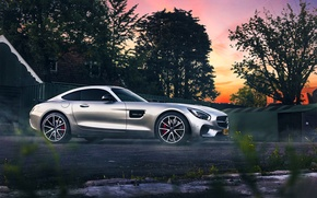 Обои mercedes-benz, amg, gt s, 2015, sunset, smoke, beauty, ligth, silver