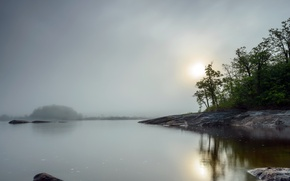 Картинка ночь, туман, озеро
