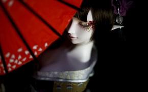 Картинка девушка, эльф, кукла, зонт, кимоно, BJD