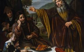 Картинка картина, мифология, Ян Викторс, Авраам Прощается с Семьёй Лота