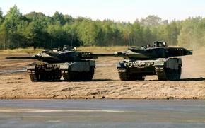 Картинка полигон, учения, Leopard 2A6, ВС Германии, немецкие боевые танки
