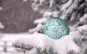 Картинка зима, снег, ветки, игрушка, шарик