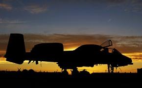 Картинка Sunset, A-10, USAF, Thunderbolt II, Aircraft, Airbase