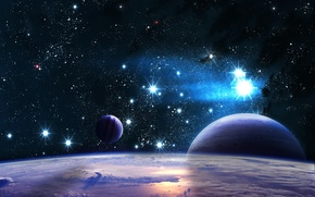 Картинка вселенная, орбита, свет, звезды, небо, планета, спутник