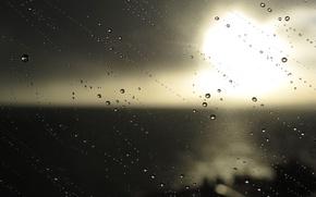 Картинка капли, макро, фон, дождь, настроение, Стекло