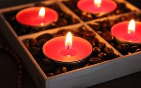 Картинка огонь, кофе, Свечи