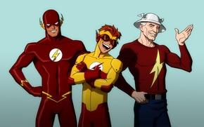 Картинка comics, Barry Allen, The Flash Family, Jay Garrick, Kid Flash, Wally West, the Flash