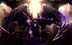 Картинка оружие, крылья, свечение, доспехи, арт, коса, God of Death, Thanatos