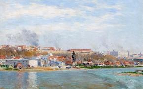 Картинка пейзаж, город, река, дома, картина, Испания, Aureliano de Beruete y Moret, Мансанарес в Мадриде
