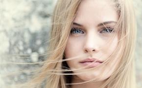 Картинка девушка, лицо, волосы, портрет, блондинка, боке