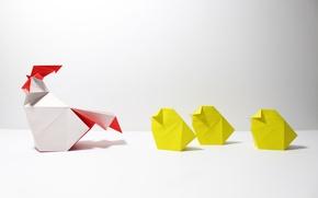Картинка бумага, оригами, куры