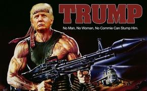 Обои США, вертолеты, президент, Rambo, Donald John Trump, Дональд Трамп, Рэмбо, оружие