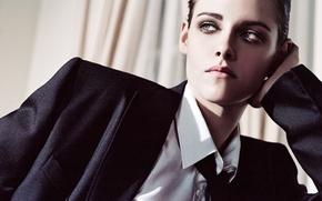 Картинка стиль, модель, актриса, брюнетка, прическа, костюм, галстук, рубашка, пиджак, Kristen Stewart, Кристен Стюарт, фотосессия, Elle, …