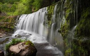Обои зелень, камни, водопад, мох, Великобритания, кусты, Sgwd Clun-Gwyn Waterfall