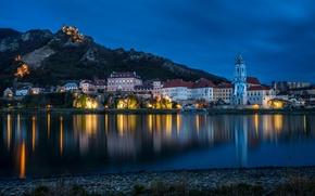 Картинка вода, пейзаж, ночь, огни, отражение, река, камни, берег, гора, дома, Австрия, фонари, набережная, Dürnstein